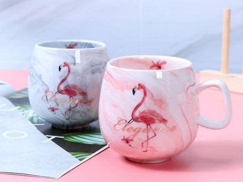 Keramik Kaffeebecher rosa oder blau marmoriert   Katzenpfötchen