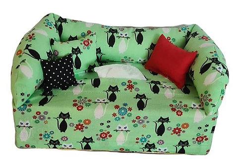 Taschentuchsofa | Sweet Kitty Cat grün