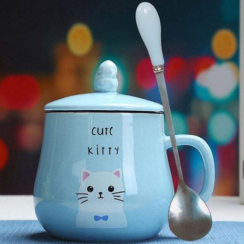 Katzen Kaffeebecher mit Löffel und Deckel | Blau