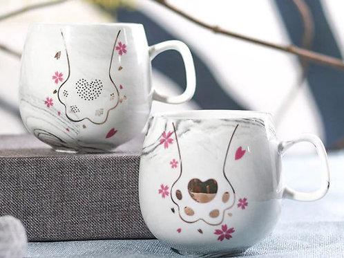 Keramik Kaffeebecher grau/weiß marmoriert | Katzenpfötchen