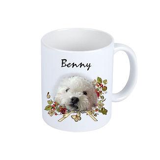 Weißer Kaffeebecher Benny Blumenranke PS