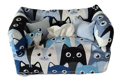 Taschentuchsofa   Blaue Katzenköpfe