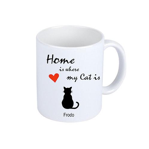 Weiße Kaffeebecher   Home is ...   Mit Namen deiner Katze