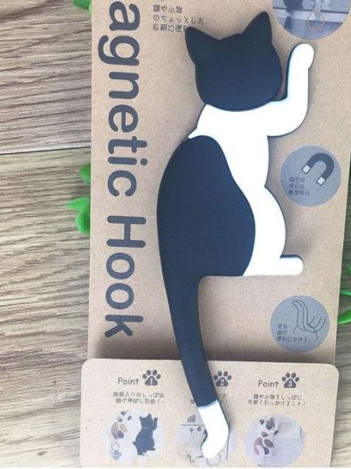 Katzen Magnet Haken | Schwarze weiße Katze