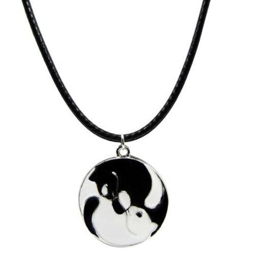 Yin und Yang Katzen Halskette