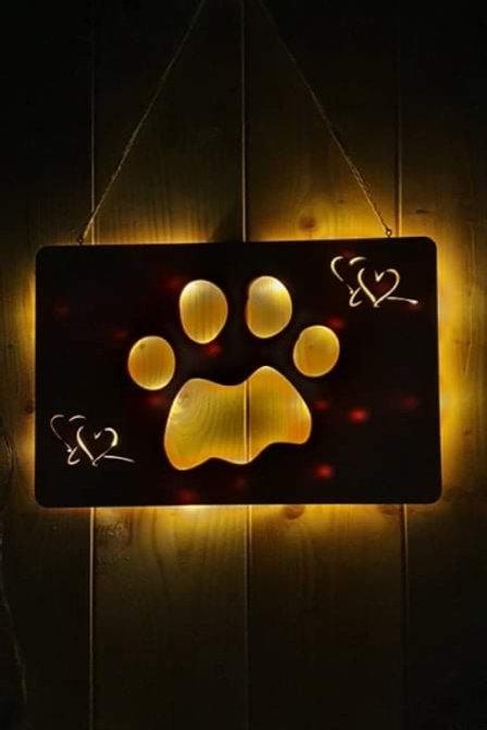 Leucht Holztafel | Katze-oder Hundepfote | Leuchtschild