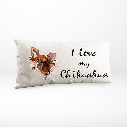 Kissen | Leinen Optik natur | I love my Chihuahua