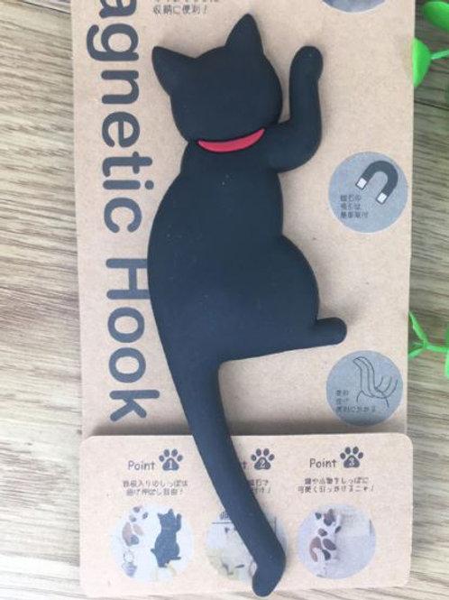 Katzen Magnet Haken | Schwarze Katze