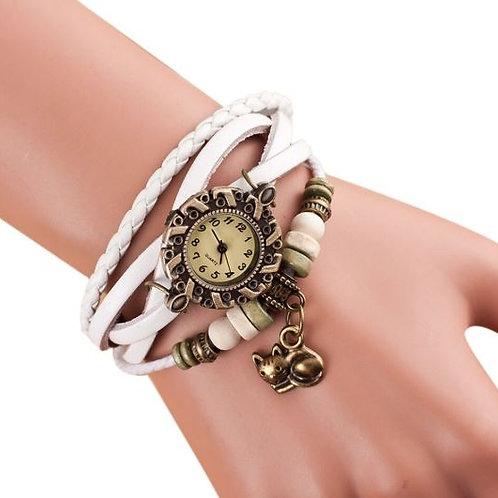 Damen Armbanduhr mit Wickelarmband und Katzenanhänger