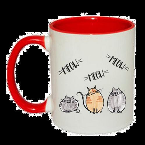 Farbtassen in 9 verschiedenen Farben   Drei Katzen meow