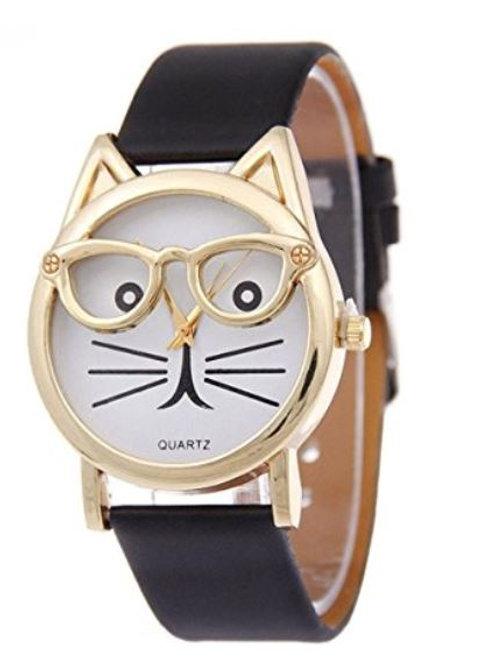 Damen Katzen Armbanduhr mit Brille