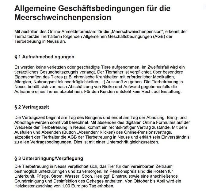 AGB Meerschweinchenpension Stand 31.01.2