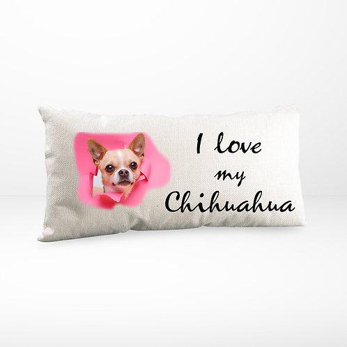 Kissen | Leinen Optik natur | I love my Chihuahua rosa