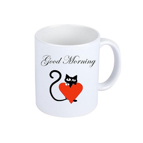 Weiße Katzen-Kaffeebecher | Good Morning