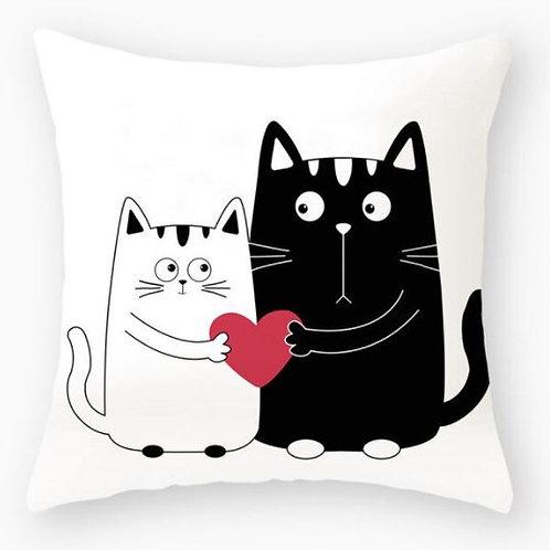 Katzen Kissenüberzug   Verliebte Katzen mit Herz