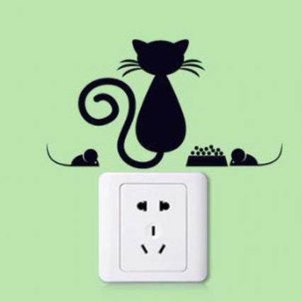 Katzen Wandtattoos | Katzen Schalter Aufkleber mit Mäusen