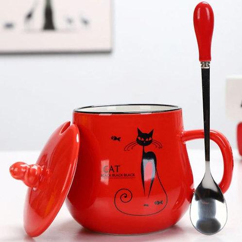 Katzen Kaffeebecher mit Löffel und Deckel | Rot