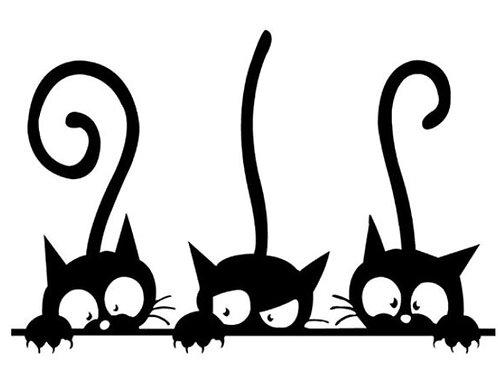 Katzen Wandtattoos | Katzen Aufkleber mit drei Katzen