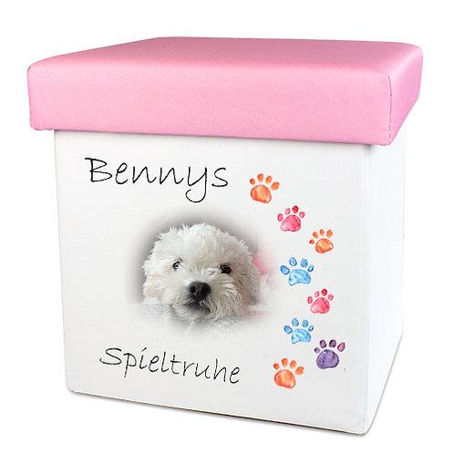 Faltbare Spielzeugkiste für Hunde und Katzen | Spieltruhe mit Foto und Namen