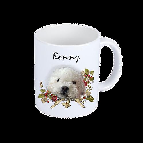 Weiße Kaffeebecher | Blumenhund