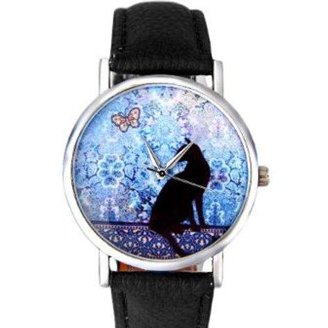 Damen Armbanduhr mit Katze und Schmetterling
