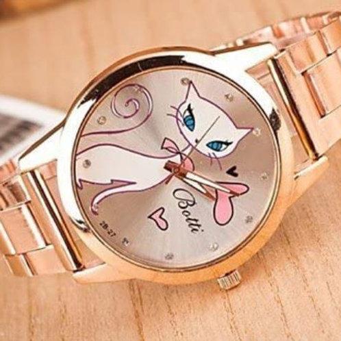 Damen Armbanduhr Katze mit Stahlarmband