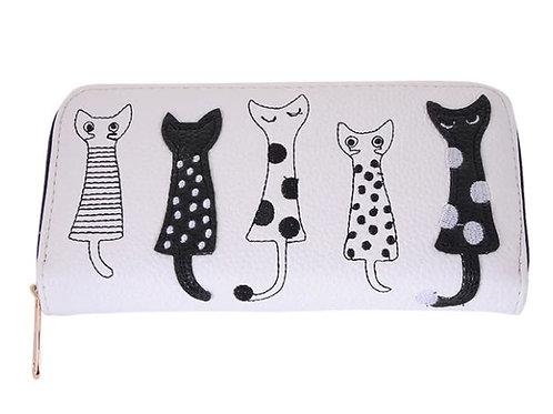 Geldbörse   Geldbeutel mit Katzenmotiven   creme