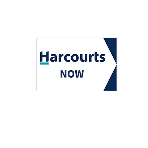 Harcourts - Now Directional Arrow Sign  (450 x 300mm) Double Sided - White