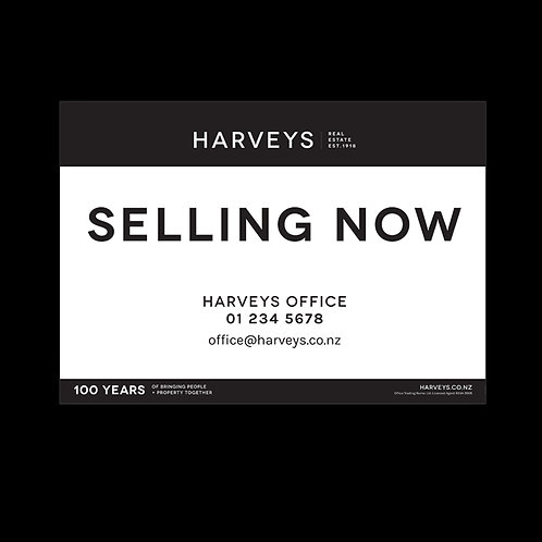 Harveys - Site Signs(Selling Now: 900mm x 600mm)