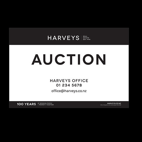 Harveys - Site Signs( Auction Signs: 900mm x 600mm)