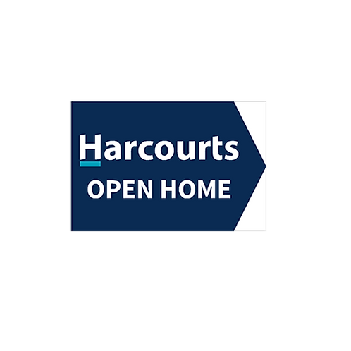 Harcourts - Open Home Arrow Signs (450mm x 300mm) Blue