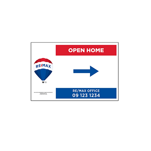 REMAX - Open Home Arrow Signs (600x400mm)