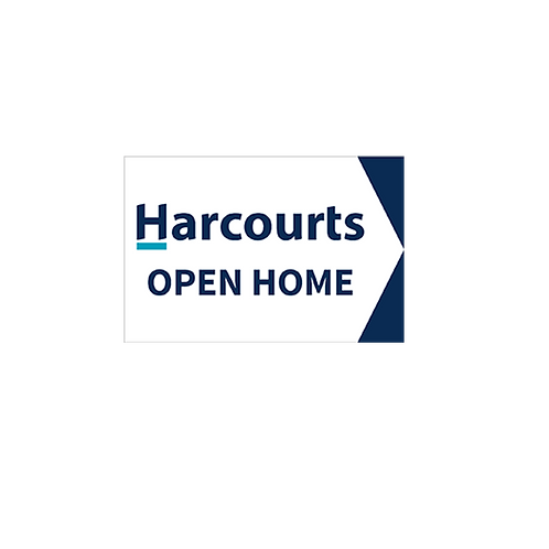 Harcourts - Open Home Arrow Signs(450mm x 300mm) - White