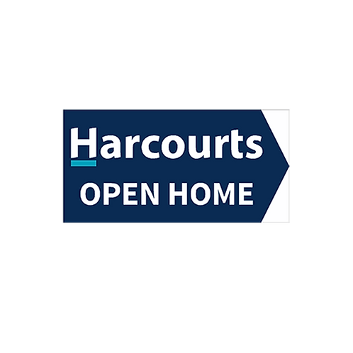 Harcourts - Open Home Arrow Signs (580mm x 290mm) Blue -  Double sided