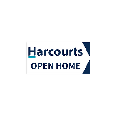 Harcourts - Open Home Arrow Signs (580mm x 290mm) White -  Double sided