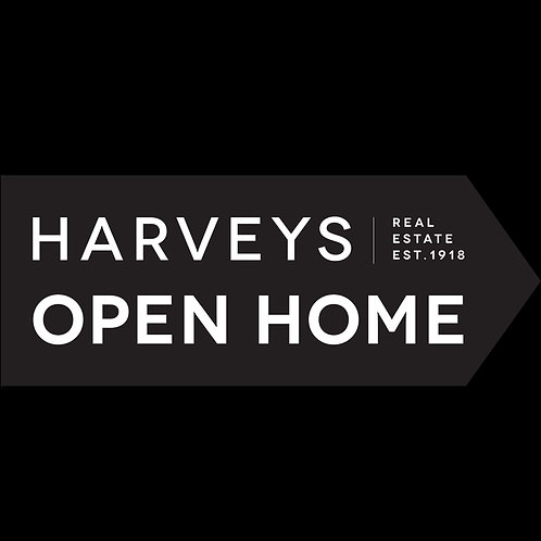 Harveys - Open Now Directional Arrow Sign (600mm x 225mm)