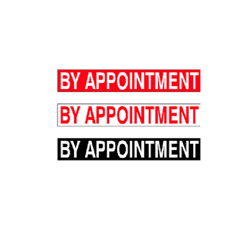 Generic Product - By Appointment Stickers (375mm x 65mm)