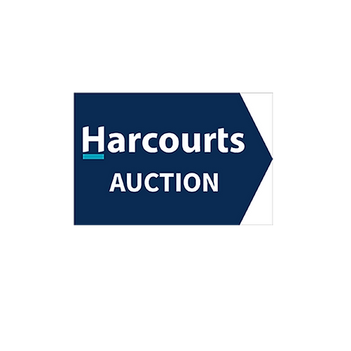 Harcourts - Auction Directional Arrow Sign(450 x 300mm) Double Sided-blue