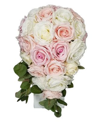 RUSTIC BUDS CASCADING IVORY PINK BOUQUET