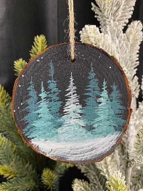 Teal Trees 2 - Wood Slice Ornament