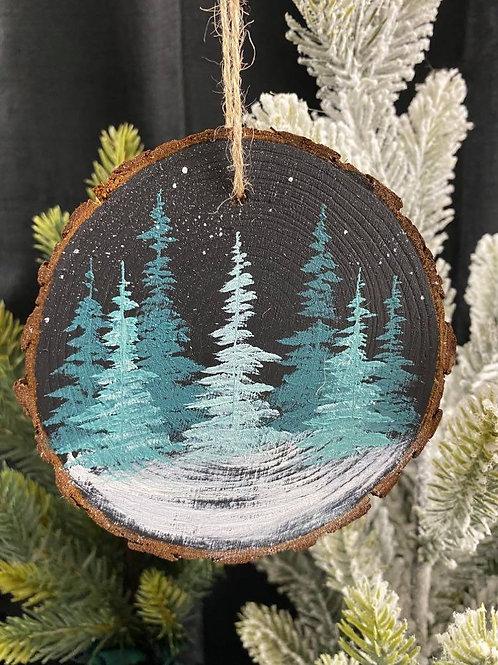 Teal Trees 1 - Wood Slice Ornament
