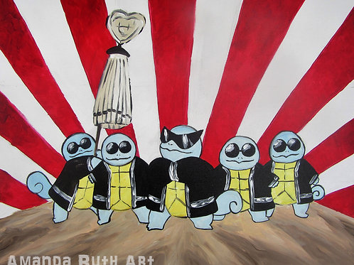 Squirtle Squad Original Painting - $175