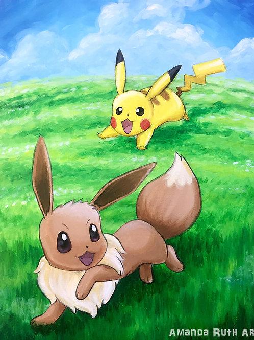 Eevee and Pikachu Original Painting - $175
