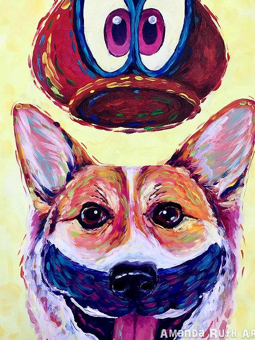 Corgi Mario Painting - $75