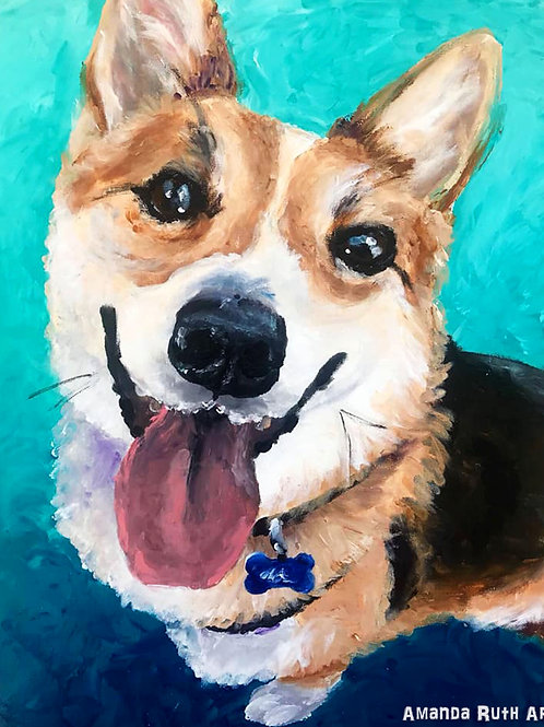 Fingerpainted Corgi - $50