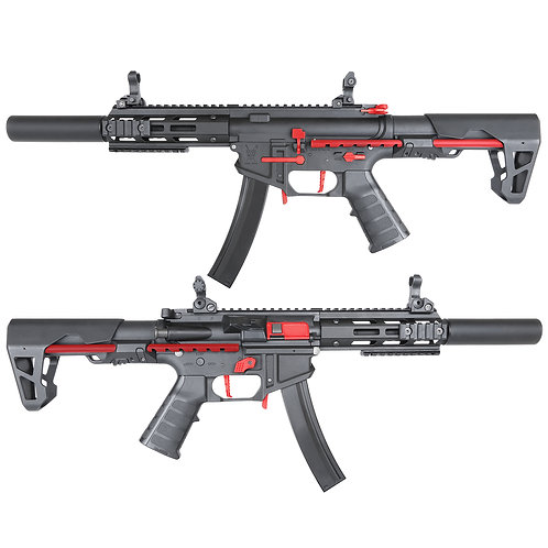 King Arms PDW 9mm SBR SD - Black & Red Edition