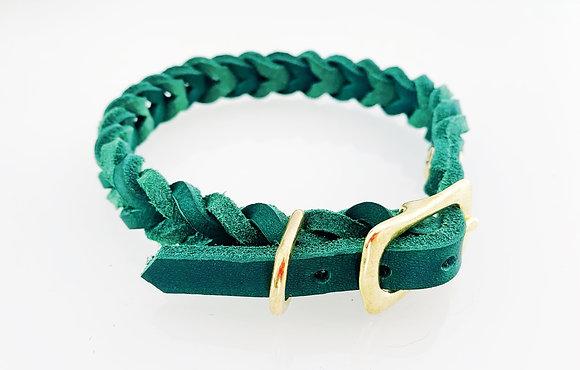 Fettlederhalsband grün