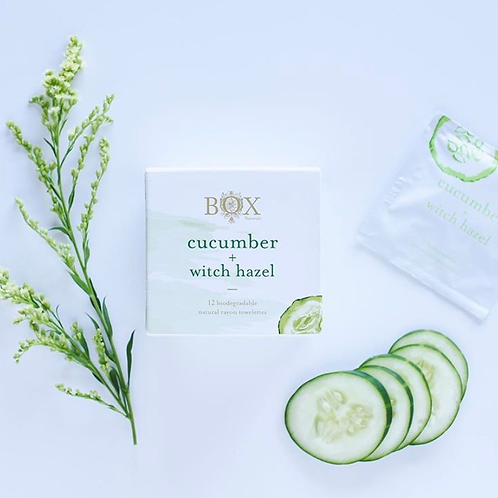 BOX NATURALS CLEANSING TOWELETTES - CUCUMBER + WITCH HAZEL