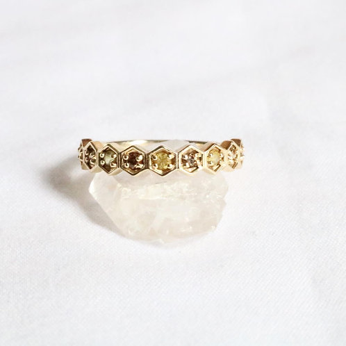 Diamond and Yellow Sapphire HoneyComb Ring