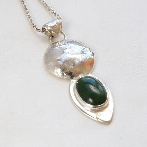 Nephrite Jade Silver Pendant